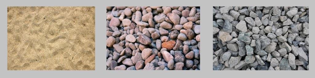 Заполнители тяжелого бетона: песок, гравий, щебень